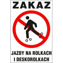 Naklejka zakaz jazdy ZJ02 zakaz jazdy na rolkach i deskorolkach