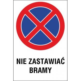 Naklejka zakaz zatrzymywania i postoju ZZP07 nie zastawiać bramy