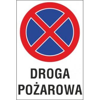 Naklejka zakaz zatrzymywania i postoju ZZP15 DROGA POŻAROWA
