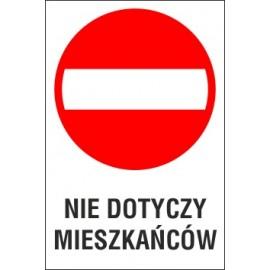 Naklejka zakaz wjazdu ZW02 nie dotyczy mieszkańców