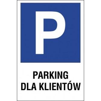 Naklejka znak parking P02 parking dla klientów