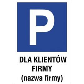 Naklejka znak parking P11x dla klientów firmy nazwa firmy