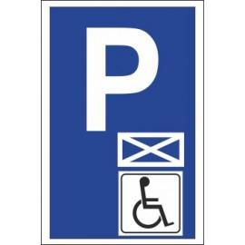 Naklejka znak parking P18 koperta inwalida