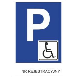 Naklejka znak parking P19x inwalida nr rejestracyjny