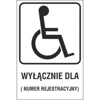 Naklejka miejsce dla inwalidy MI04x wyłącznie dla numer rejestracyjny