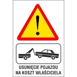 Naklejka Uwaga usunięcie pojazdu na koszt właściciela