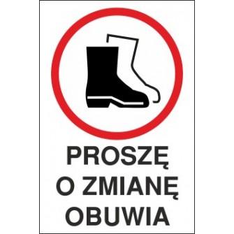 Naklejka proszę o zmianę obuwia Pozb01