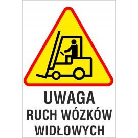 Naklejka Uwaga ruch wózków widłowych ZB09