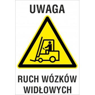 Naklejka Uwaga ruch wózków widłowych ZB10
