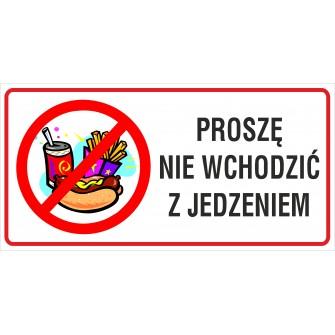 naklejka zakaz wchodzenia z jedzeniem -007