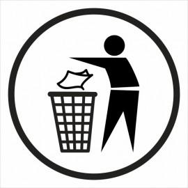 naklejka IN28 śmieci wrzucać do kosza
