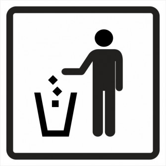 naklejka IN29 śmieci wrzucać do kosza