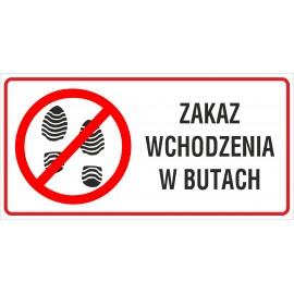 naklejka INZ18 zakaz wchodzenia w butach