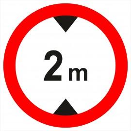 Znak drogowy B-16 - 2 m zakaz wjazdu pojazdów wyższych, niż określono na znaku (tu- 2 m).