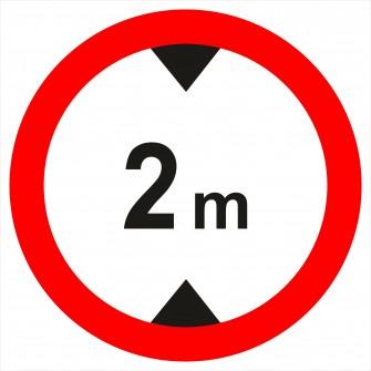 Naklejka znak zakazu B-16  - 2m - zakaz wjazdu pojazdów wyższych, niż określono na znaku (tu- 2 m)