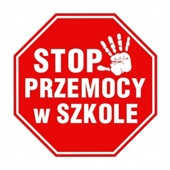 Naklejka znak zakazu DE10 Stop Przemocy w Szkole