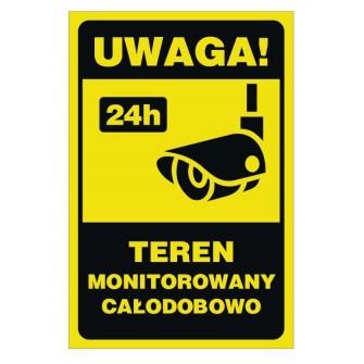 Tabliczka teren monitorowany 24h TME01 Uwaga teren monitorowany