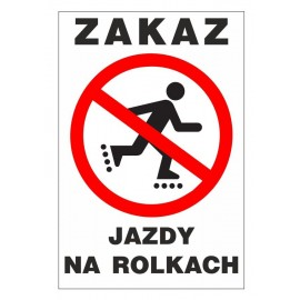 Tabliczka zakaz jazdy na rolkach ZJE01