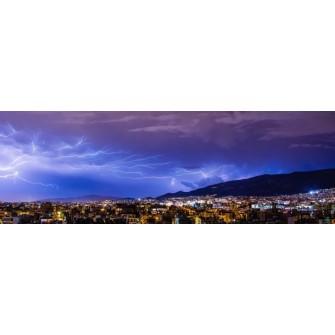Fototapeta Piorun nad miastem 297x100 cm FTE24 - klej gratis