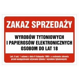 Naklejka zakaz sprzedaży papierosów e-papierosów ZSP01