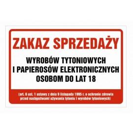 Naklejka zakaz sprzedaży papierosów e-papierosów ZSP02