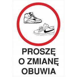 Naklejka proszę o zmianę obuwia Pozb02