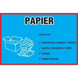 Naklejka NS19 na kosz na śmieci segregacja odpadówPapier