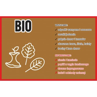 Naklejka NS23 na kosz na śmieci segregacja odbadów Bio