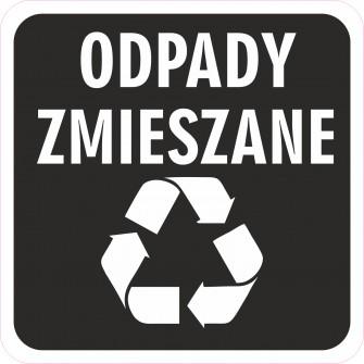 Naklejka NS30 segregacja odpadów na kosz na śmieci odpady zmieszane