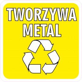 Naklejka NS31 segregacja odpadów na kosz na śmieci tworzywa sztuczne i metal