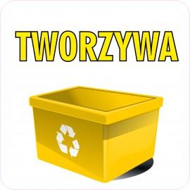 Naklejka NS37 segregacja odpadów na kosz na śmieci tworzywa sztuczne