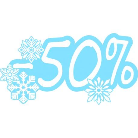 Naklejka na witrynę - W06D50 wyprzedaż -50% Winter Sale