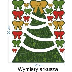 Naklejka na witrynę - W07A Zielone święta Choinka + kokardy
