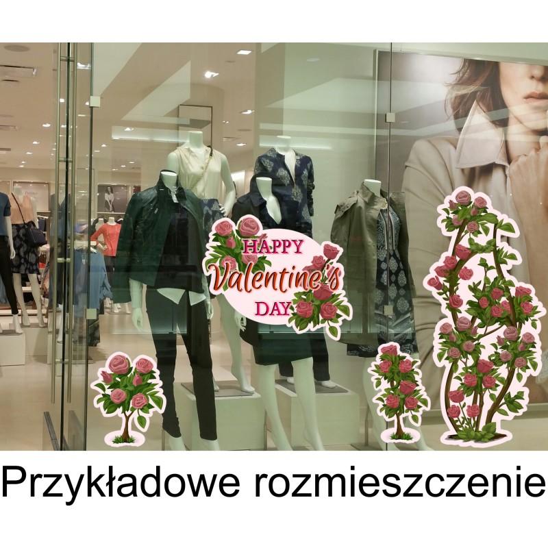 Naklejka Na Witrynę W08a Róże Walentynki 100x47cm