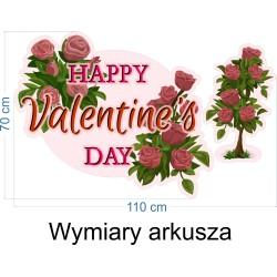 Naklejka na witrynę - W08C róże happy valentine 110x70cm