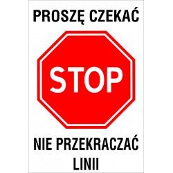 Naklejka STOP SK1 PROSZE CZEKAC
