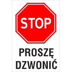 Naklejka STOP SK01 PROSZE DZWONIC