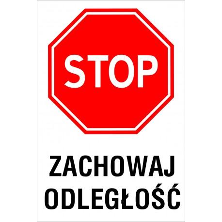 Naklejka STOP SK05 ZACHOWAJ ODLEGLOSC
