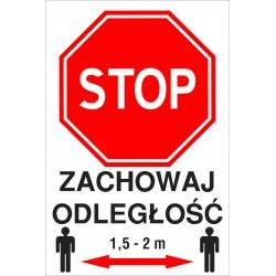 Naklejka STOP SK06 ZACHOWAJ ODLEGLOSC