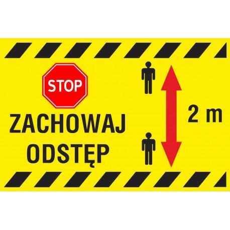 Naklejka STOP SK11 ZACHOWAJ ODSTĘP