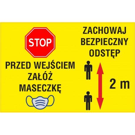Naklejka STOP SK12 ZACHOWAJ ODSTĘP
