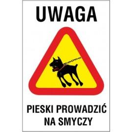 tabliczka uwaga pieski prowadzić na smyczy UP03 wściekły pies