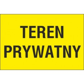 tabliczka teren prywatny TP02 teren prywatny żółte tło