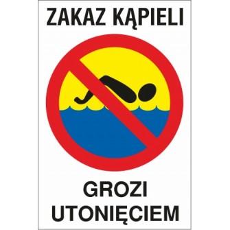 zakaz kąpieli ZK02 grozi utonięciem