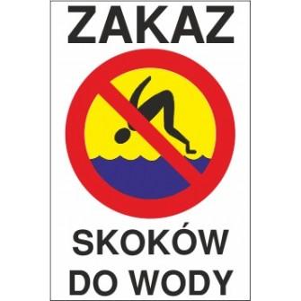 zakaz skoków do wody ZK05 tło niebiesko żółte