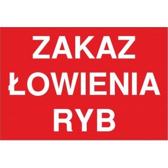 zakaz łowienia ryb ZŁ03 pozioma tabliczka napis na czerwonym tle