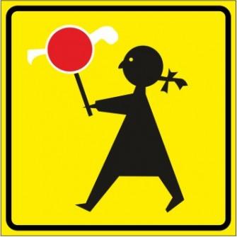 """T-27 - """"Agatka"""" Tabliczka wskazująca, że przejście dla pieszych jest szczególnie uczęszczane przez dzieci"""