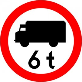 Naklejka znak zakazu  B-5a Zakaz wjazdu poj. ciężarowych o dopuszczalnej masie większej, niż określono na znaku (tu- 6 t)
