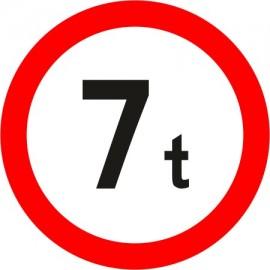Naklejka B-18 zakaz wjazdu pojazdów o rzeczywistej masie całkowitej większej niż określono na znaku (tu- 7t)