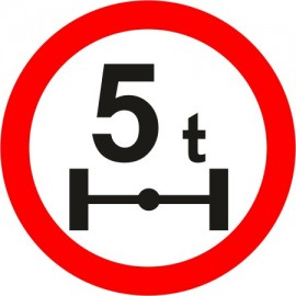 Naklejka znak zakazu B-19 zakaz wjazdu pojazdów o nacisku osi większym niż określono na znaku (tu- 5t)